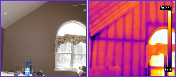 Thermal image of an insulated wall.