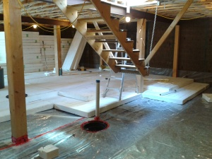 Basement under-slab insulation.