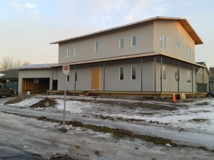 Once the EIFS was complete, the porch roof could be built.